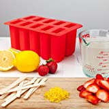 RDLC & Company BPA Free Silicone Popsicle Molds: 10 Count Ice Pop Maker - Freezer Tray, Cover, and 10 Wooden Sticks