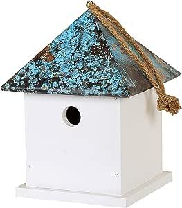 Dehner 4301818 Natura Bari - Caja para pájaros Silvestres, Aprox. 28 x 21 x 21 cm, Madera/Cobre, Color Blanco.: Amazon.es: Productos para mascotas