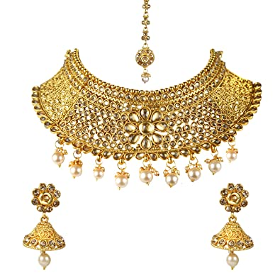 35c282854 Buy Sitashi Gold Plated Antique Rajwadi Fashion/Imitation Jewellery Stone  Choker Necklace Set for Girls and Women and Festivals Online at Low Prices  in ...