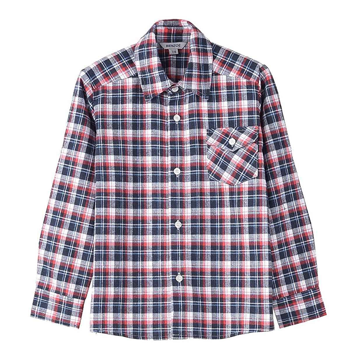 Bienzoe Boy's Warm Flannel Button Down Long Sleeve Plaid Shirt