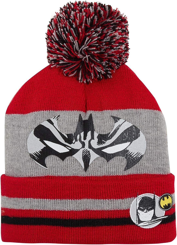 DC Comics Boys Batman Bobble Hat Gloves Knitted Wooly Winter Set Kids Xmas Gift