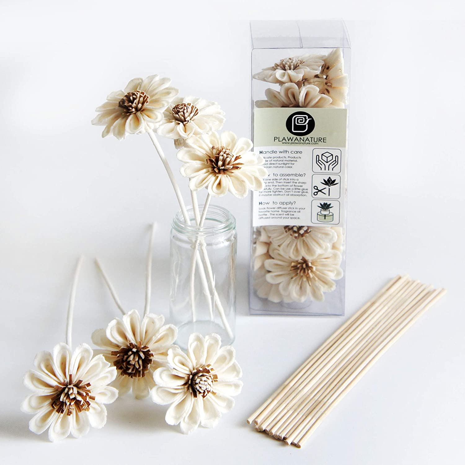 Plawanatureのセット10ホワイトSun Flower Sola Wood Flower with Reed Diffuser for Home Fragranceアロマオイル。 B0196FLCDI