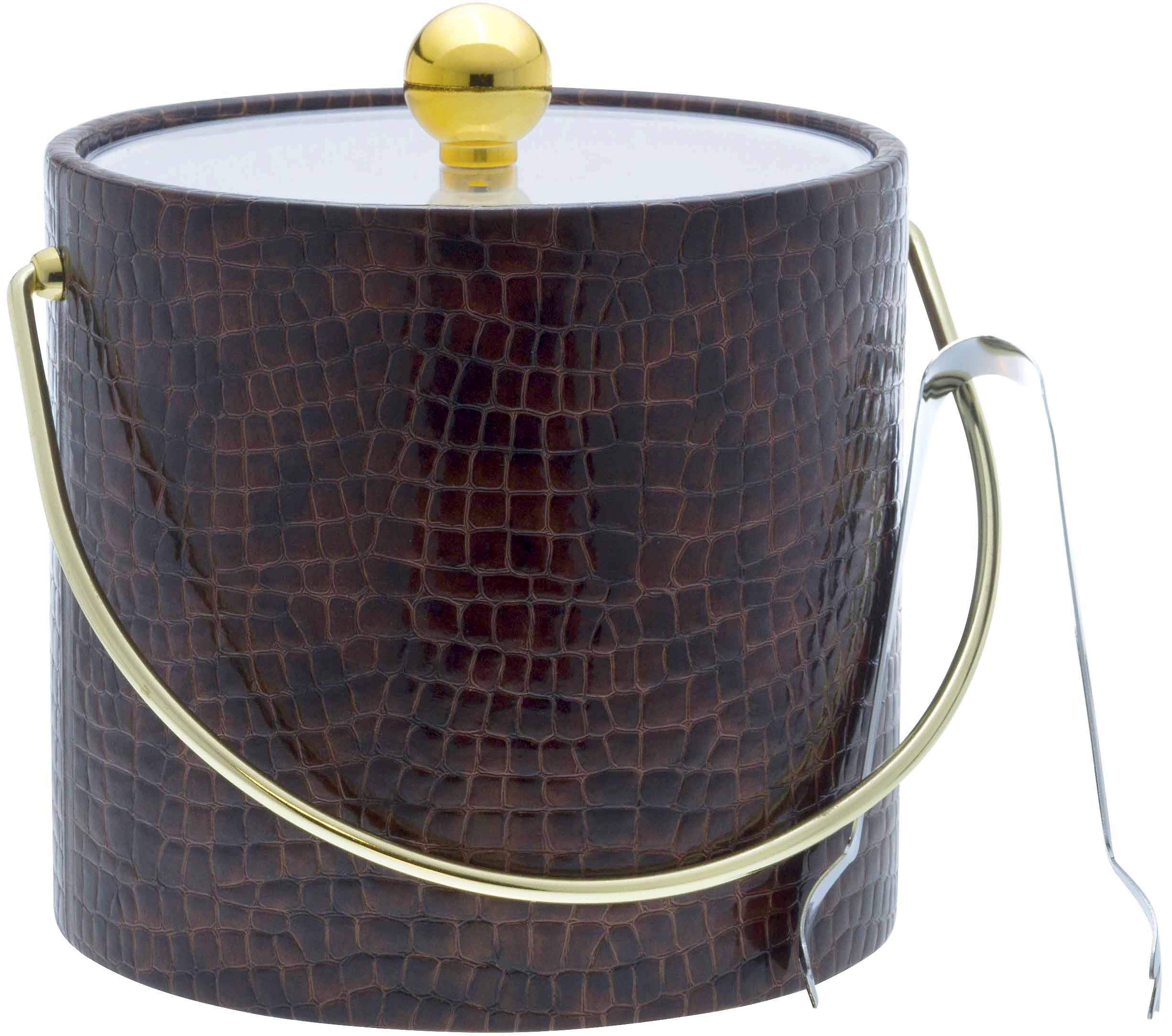 Hand Made In USA Truffle Brown Crocodile Leatherette Double Walled 3-Quart Insulated Ice Bucket With Bonus Ice Tongs
