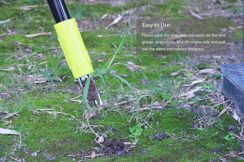 Stand-up Garten Rasen leicht Wurzelentferner Grabber Werkzeug gr/ün // grau Unkrautentferner Handweater Twist L/öwenzahn Puller Unkrautauszieher mit Stahlgriff und 3 Krallen 93cm