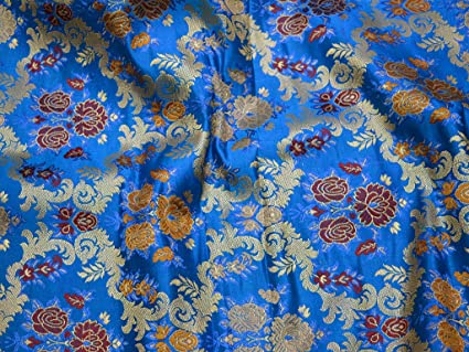 Amazon Com Royal Blue Heavy Floral Design Banarasi Brocade Indian