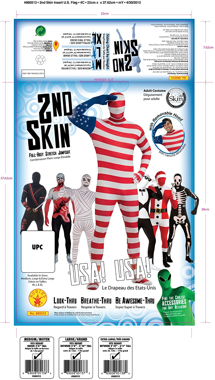 Patriotic US Flag 2nd Skin Full Body Jumpsuit /& Mask