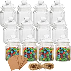 TOPZEA Set of 12 Glass Yogurt Jars with Lids, 8 Oz Clear Glass Pudding Jar with PE Cap, Seal Wire, Tag, Hemp Rope, Food Storage Canister for Honey, Milk, Jams, Spices
