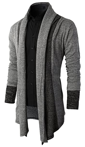Brinny Cárdigan Rebeca Manga Larga para Hombre Cardigan Sweatshirt Chaqueta Larga Suéter Abierto Sweat Blazer