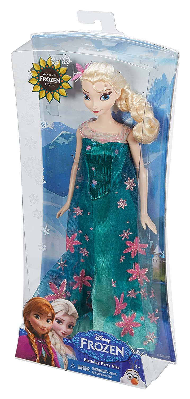 Amazon.com: Mattel Disney Frozen Fever Birthday Party Elsa Doll ...