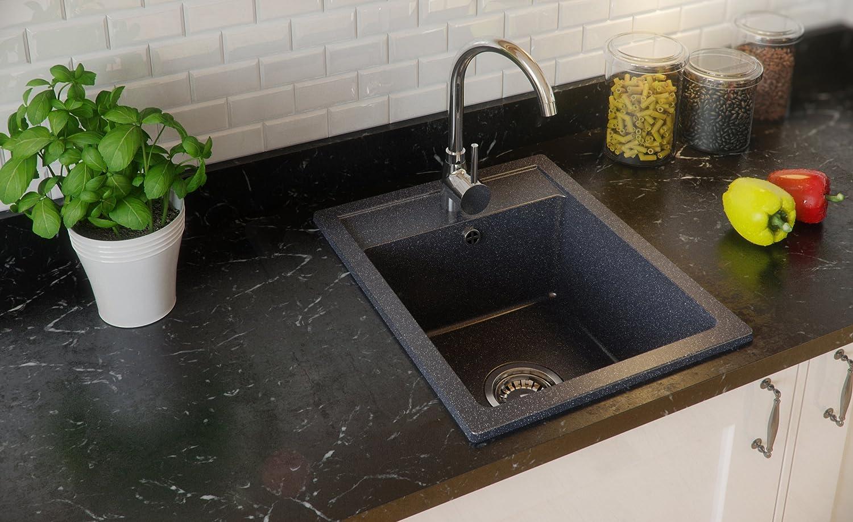Granitspüle graphit, 1-Becken, Siphon, Spülbecken, Küchenspüle ...