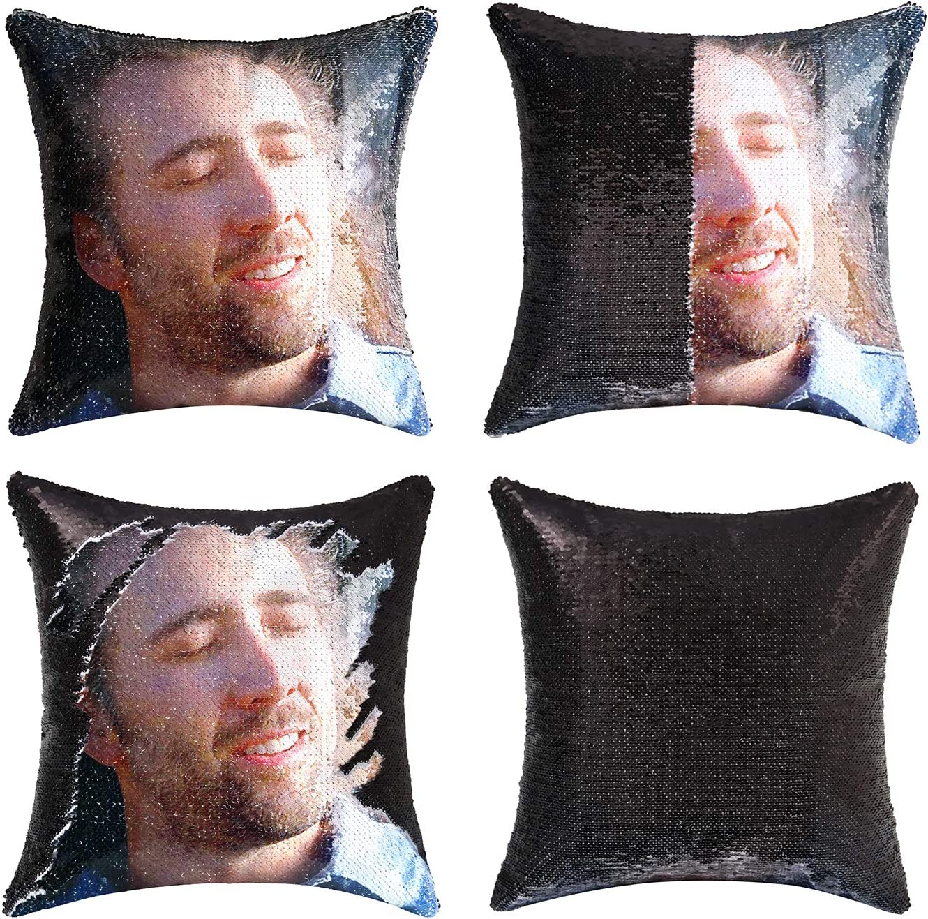 cygnus Nicolas Cage Sequin Pillow Cover Magic Mermaid Reversible Pillowcase That Color Changes Home Decor Throw Pillow Case Sofa Cushion Cover (Black Sequin)