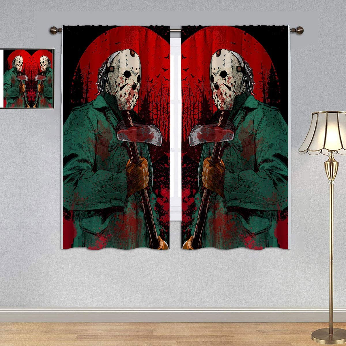 Kids Decor Thermal Insulating Blackout Curtain Friday The 13th Curtains, Horror Movie Halloween Jason Waterproof Window Curtain for Boy Bedroom 42x45 Inch