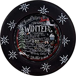 CVHOMEDECO. Winter Decorative Plate Primitives Distressed Round Christmas Display Wooden Plate Home Décor Art, 9-3/4 Inch