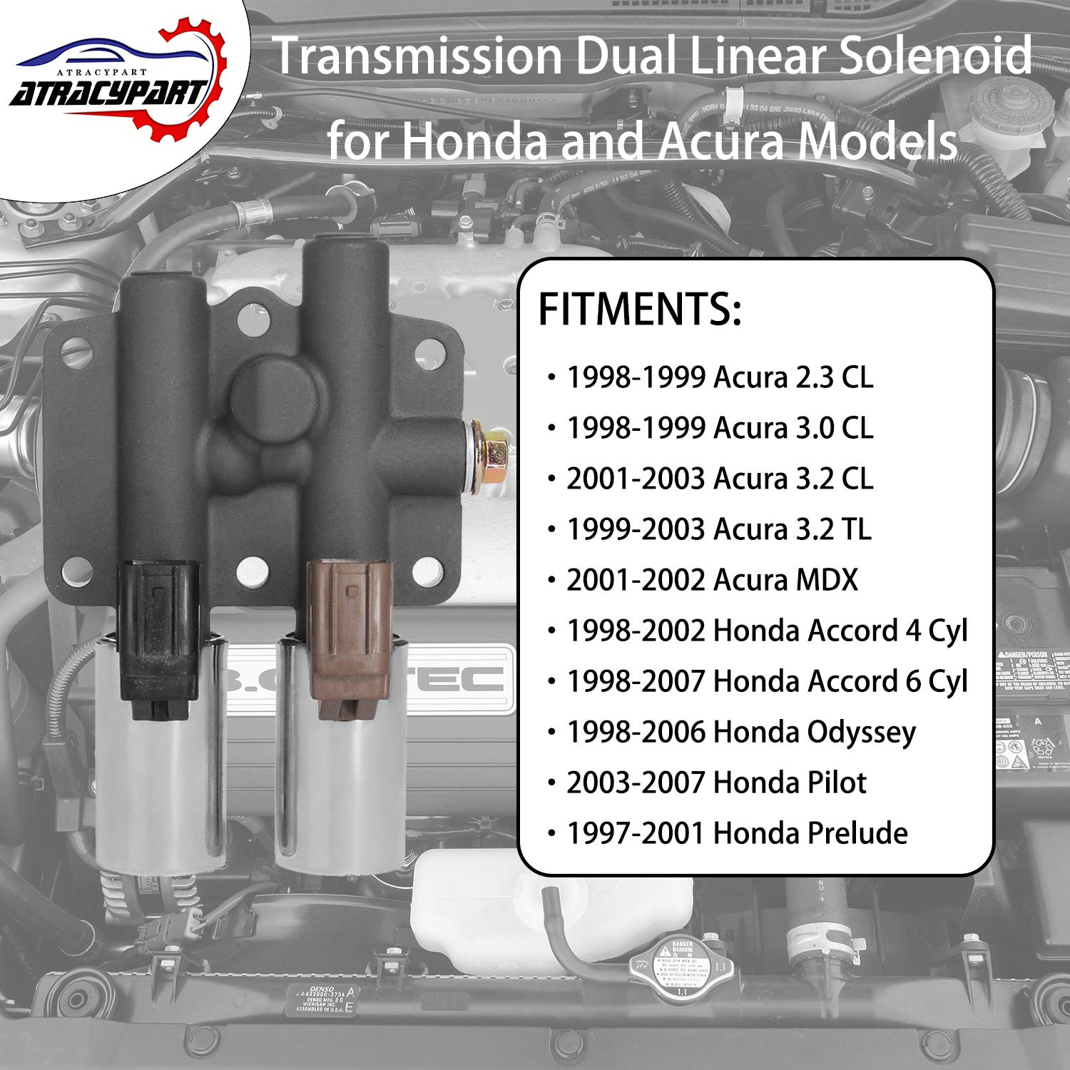 Transmission Dual Linear Solenoid With 1pcs Gasket And Acura Cl 3pcs O Rings For Honda Accord Odyssey Pilot Prelude Tl Mdx Replaces