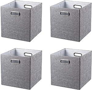 BAIST Large Cube Storage Bins Collapsible Storage Organizer Fabric Storage Cubes Basket Bins with Metal Handles 13 x 13 for Closet, Cloth, Food, Kids, Dog, Bathroom, Toy, Office, Shelf (4-Pack, Gary)