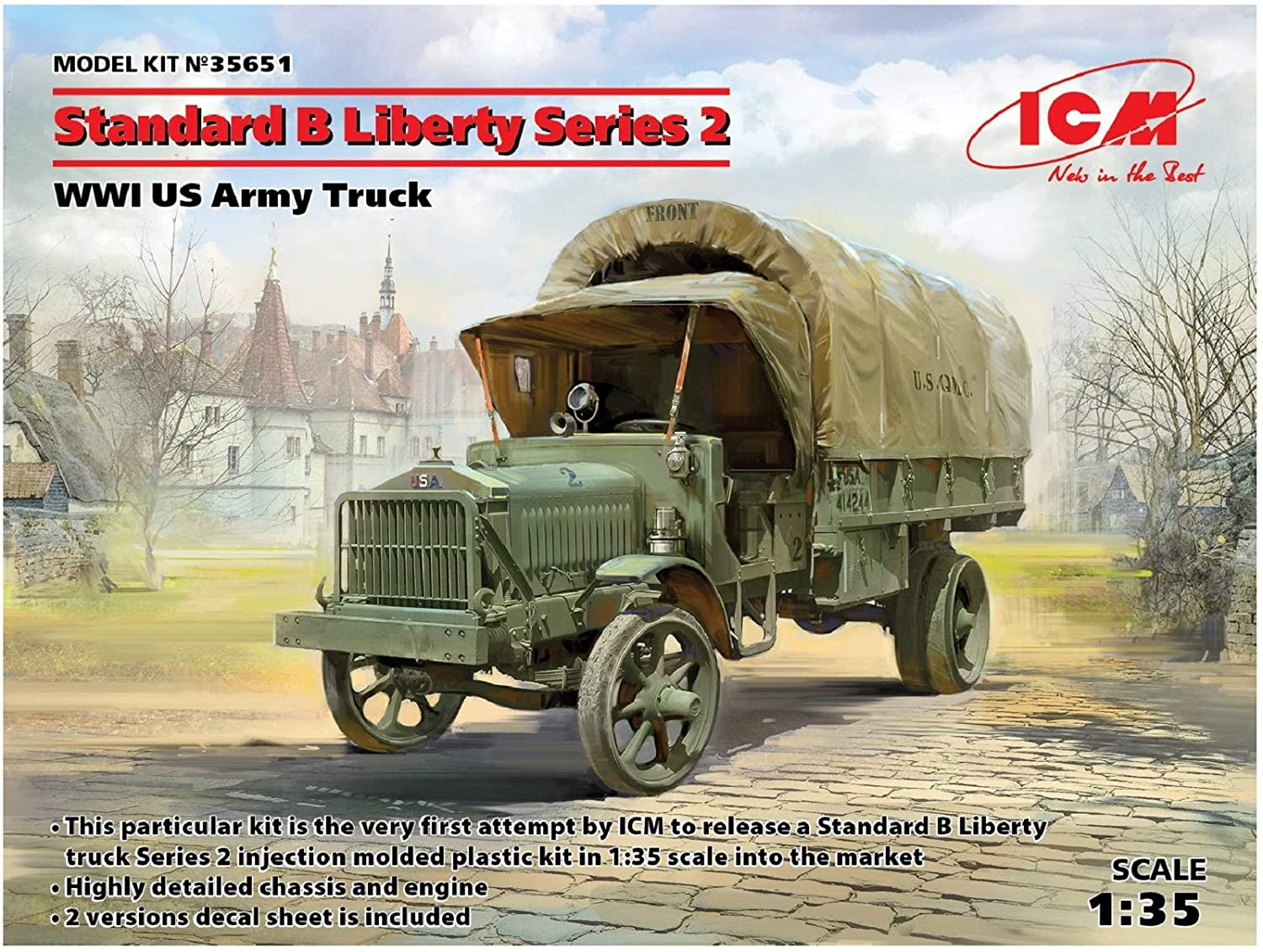 WWI US Army Truck Model Building Kit #35651 ICM 1//35 Scale Standard B Liberty Series 2