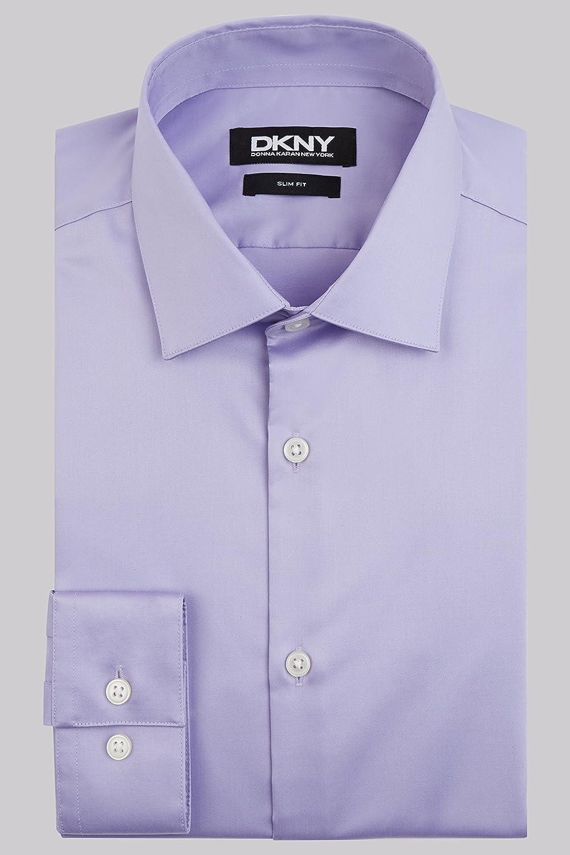 DKNY Men`s Slim Fit Lilac Single Cuff Sateen Shirt