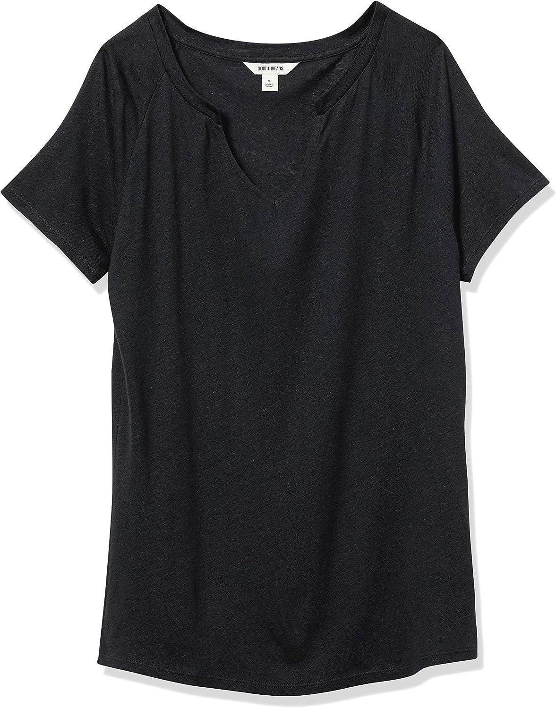 Brand - Goodthreads Women's Linen Modal Jersey Short-Sleeve Slit-Neck T-Shirt: Clothing