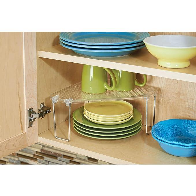mDesign Juego de 4 rinconeras de cocina - Estantería esquinera plástica y multiuso  para armarios - Repisa apilable con estantes de cocina para vajilla a0d96f9a459d