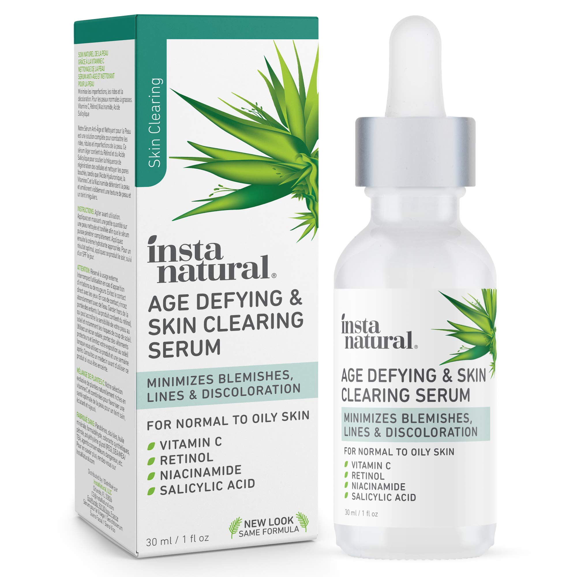 InstaNatural Vitamin C Anti Aging Skin Clearing Serum - Wrinkle, Fine Line, Pigmentation, Pore Minimizer & Dark Spot Corrector for Face - Retinol, Hyaluronic, & Salicylic Acid - 1oz