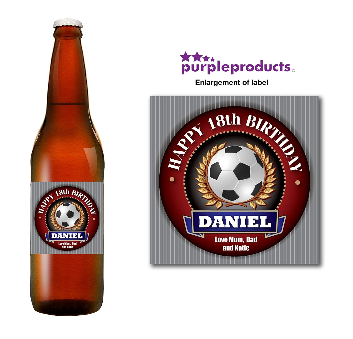 Personalised Football Player Fan 18th 21st 30th 40th 50th Birthday Beer Bottle label Gift Purple Products
