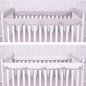 CaSaJa 4-Piece Soft Reversible Crib Rail Cover Set for Entire Crib Rails, Safe Breathable Padded Batting Inner for Baby Teething Guard, Fits Up to 8