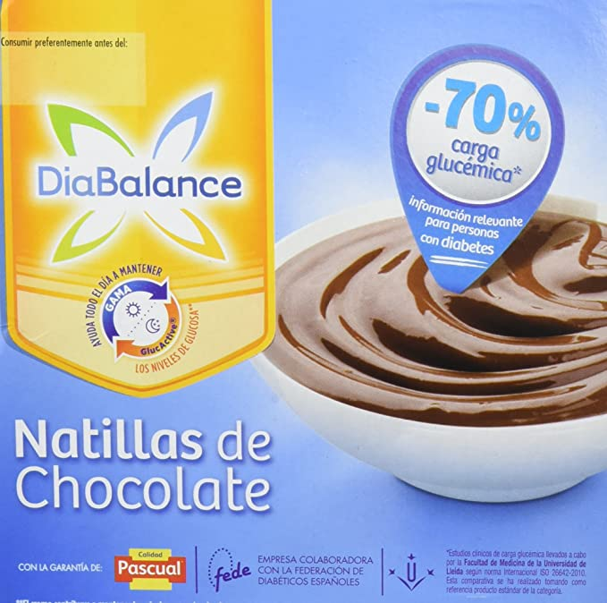 DiaBalance Natillas Chocolate - Paquete de 4 x 100 gr - Total: 400 gr