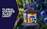 Moonrays 92276 Solar Powered Hanging Floral Stained Glass LED Lantern, 24-Inch Above Ground Height On The Shepherd's Hook Made from Metal and Plastic, Rechargeable Battery Included