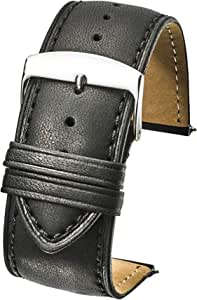 Alpine Genuine Leather Watch Band (fits Wrist Sizes 6-7 1/2 inch)- Black, Brown - 26mm, 28mm, 30mm