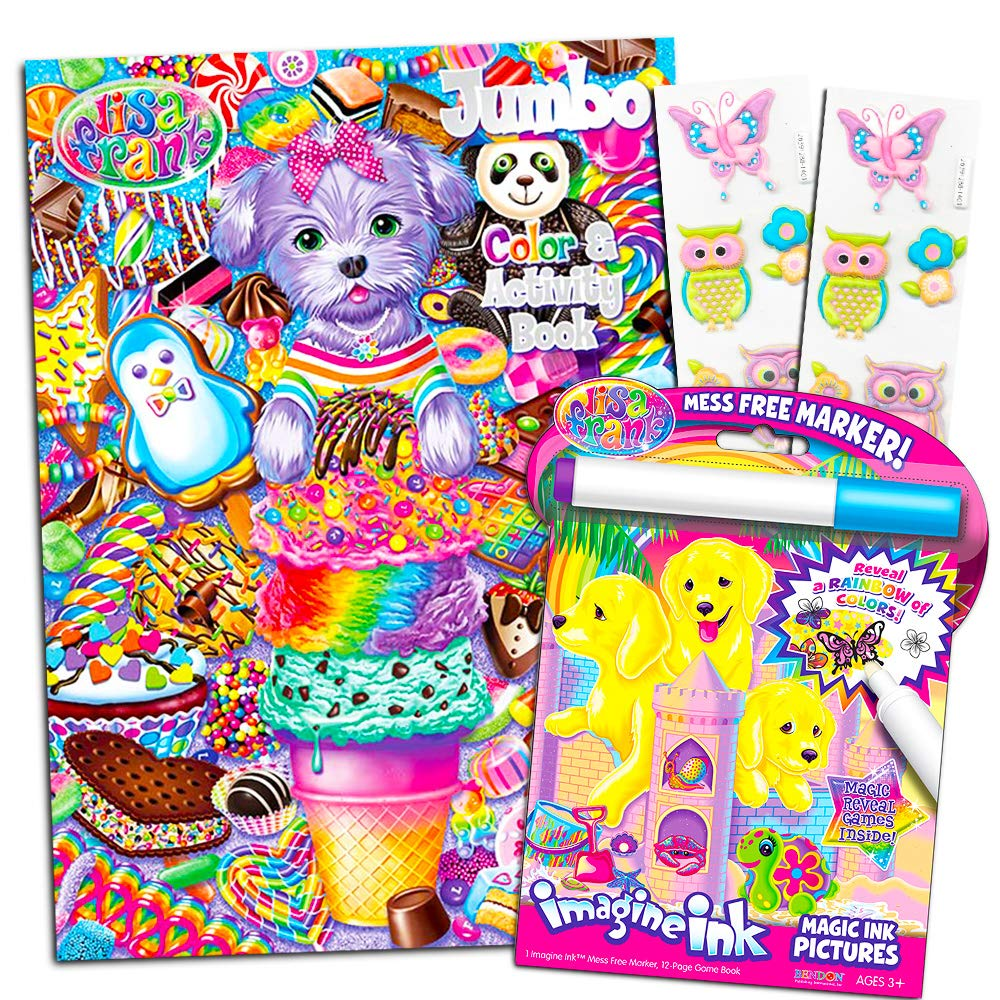 Imagine Ink Book with Magic Invisible Ink Pen Party Pack Lisa Frank Coloring Book Set Jumbo Activity Book and Bonus Owl Stickers