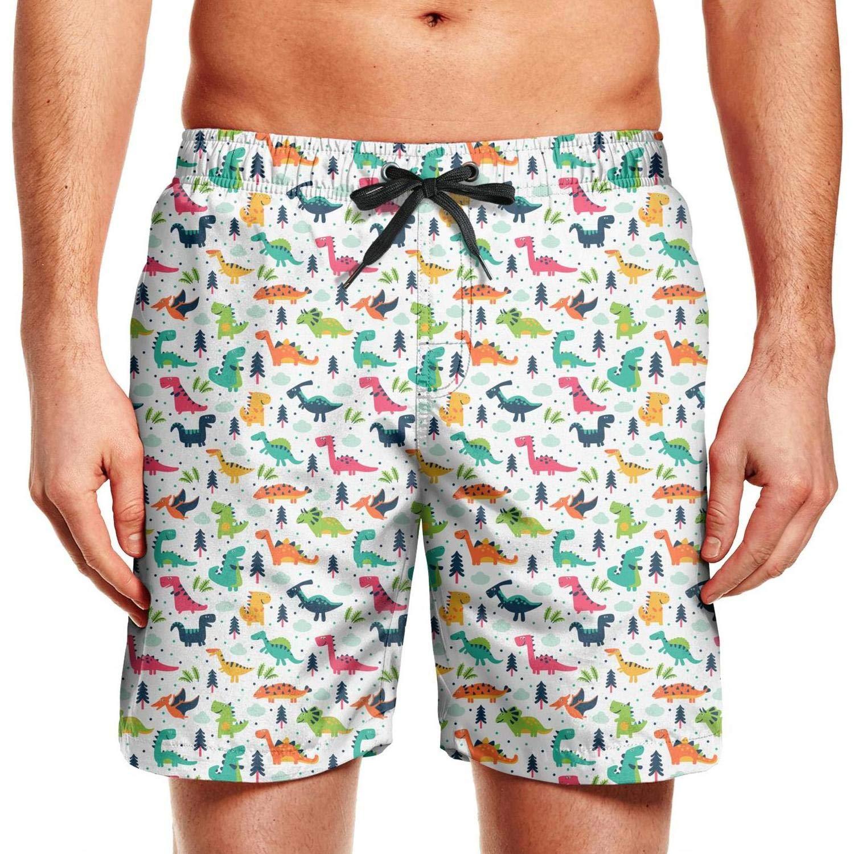 chchht Mens Swimming Trunks Board Shorts Green Dinosaur Stretch Board Drawstring Elastic Waist Beach Wear Shorts