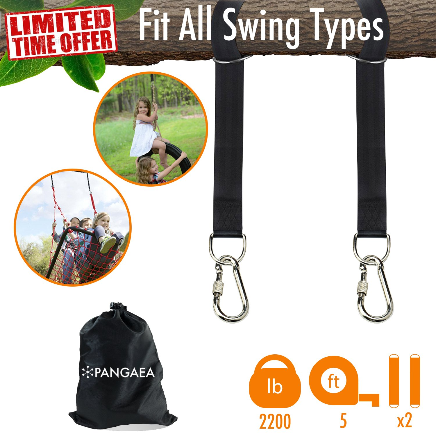 2018 New   Tree Swing Hanging Straps Kit Holds 2200 lbs 5-ft Extra Long   Safer Lock Snap Carabiner Hooks   Perfect for Tree Swing & Hammocks Carry Pouch Bag   Heavy Duty   Adjustable
