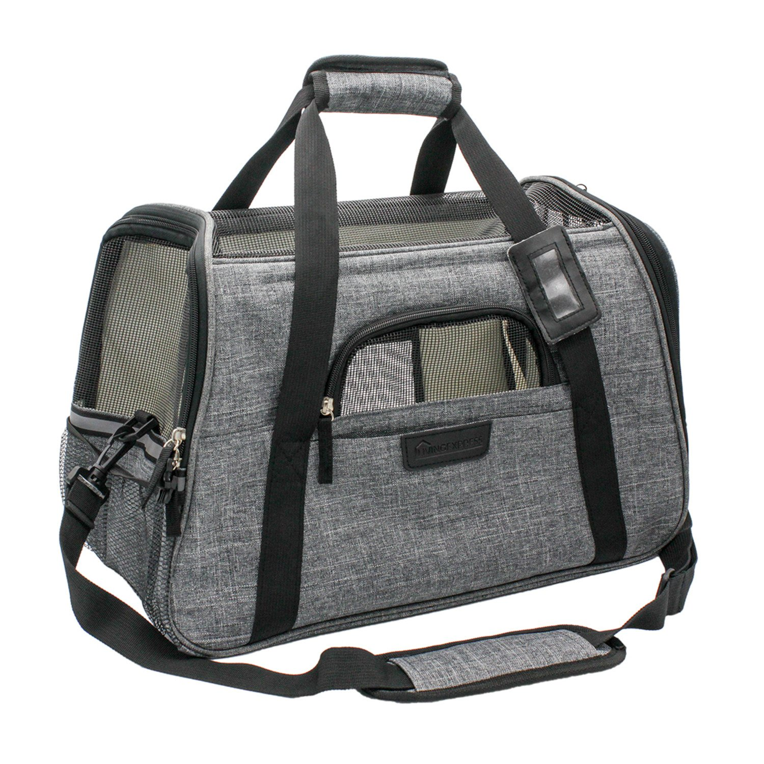 Airline Approved Pet Carriers, Soft Sided Portable Travel Bags with Fleece Padding, Airplane Pet Carrier Under Seat for Small Dog and Cat, Dogs Purses (Gray)