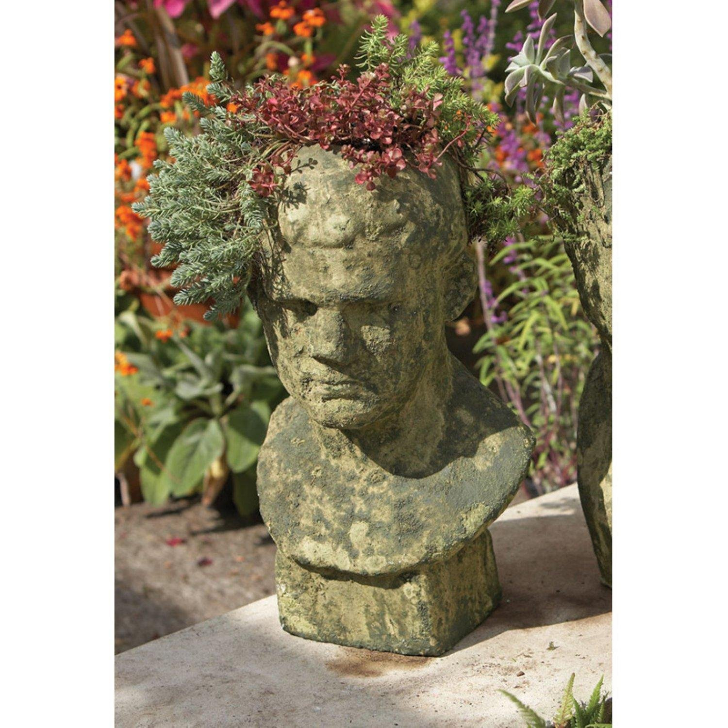 "19.75"" Mossy Green and Gray Male Relic Bust Decorative Garden Planter"