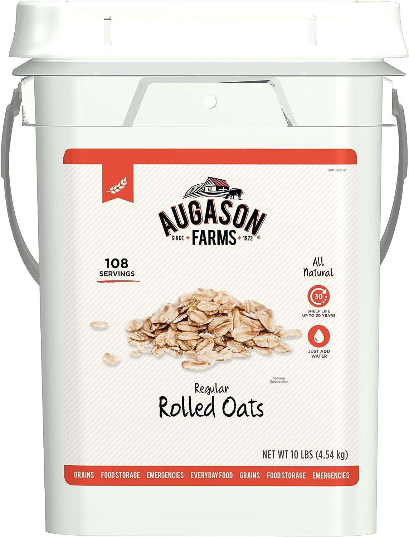 Augason Farms Regular Rolled Oats Emergency Food Storage 10 Pound Pail