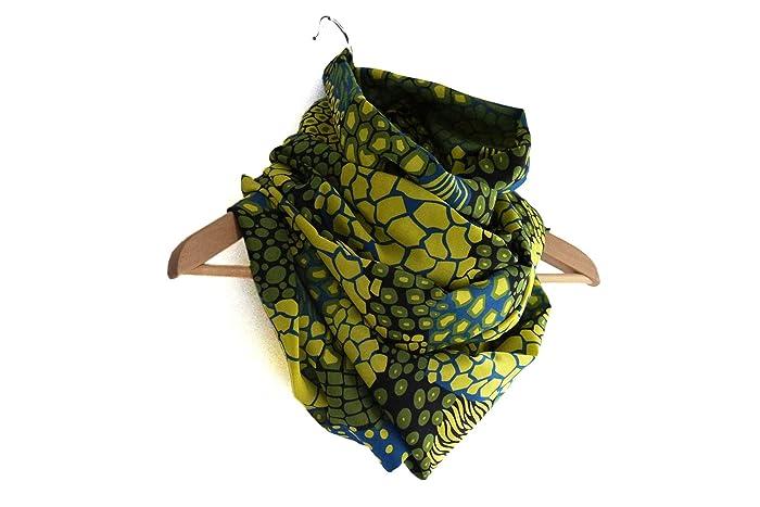 Snood foulard vert infini long bouffant tissu jungle imprimé motifs  mélangés tacheté léopard zébré écharpe tube edff7193913