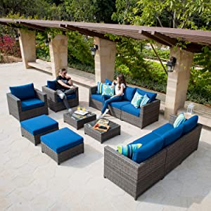 XIZZI Patio Sets,Big Size Outdoor Patio Furniture 12 Pcs, All Weather PE Rattan Furniture with 4 Pillows and and Furniture Covers,No Assembly Required (12 Pcs Big Size, Navy Blue)