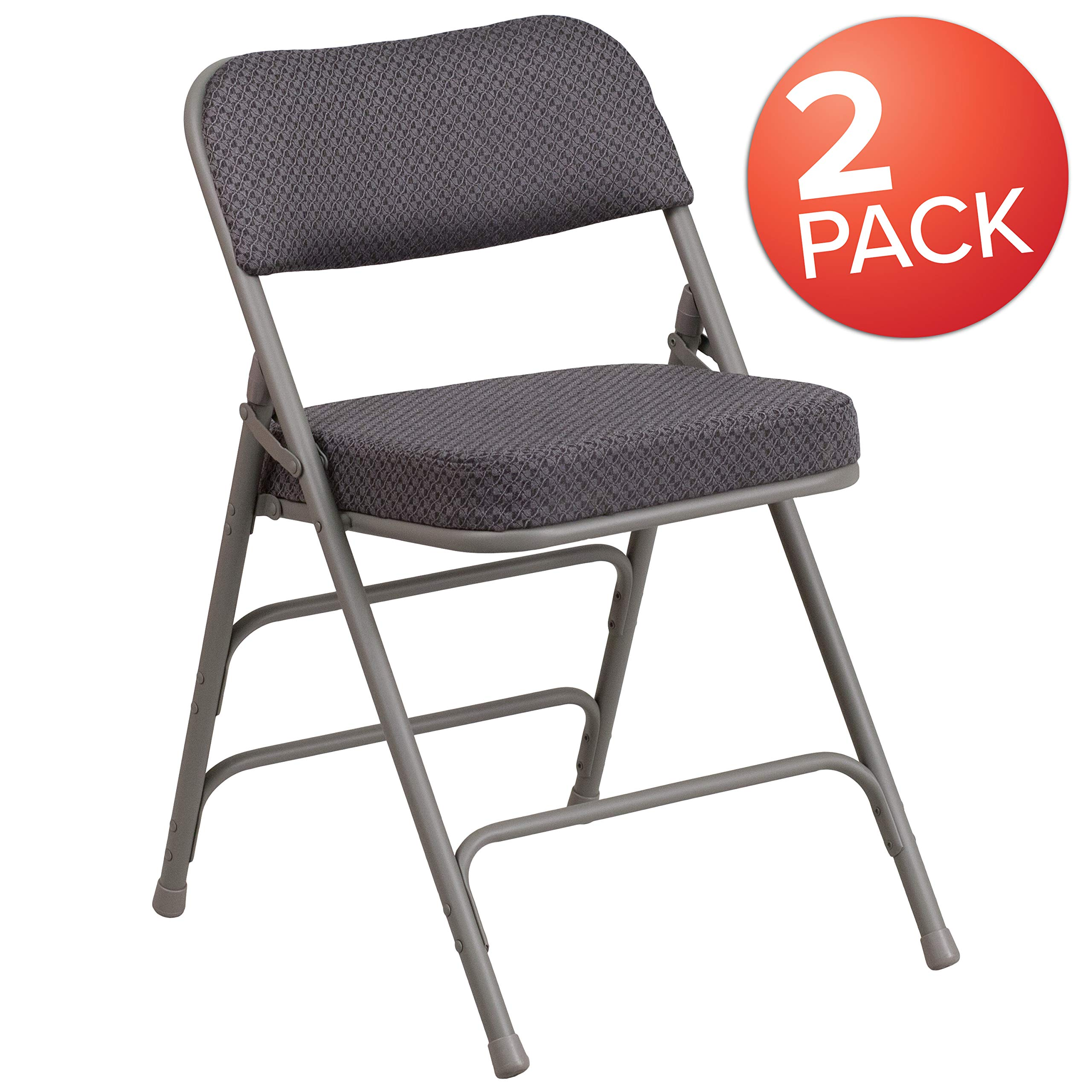 Flash Furniture 2 Pk. HERCULES Series Premium Curved Triple Braced & Double Hinged Gray Fabric Metal Folding Chair by Flash Furniture