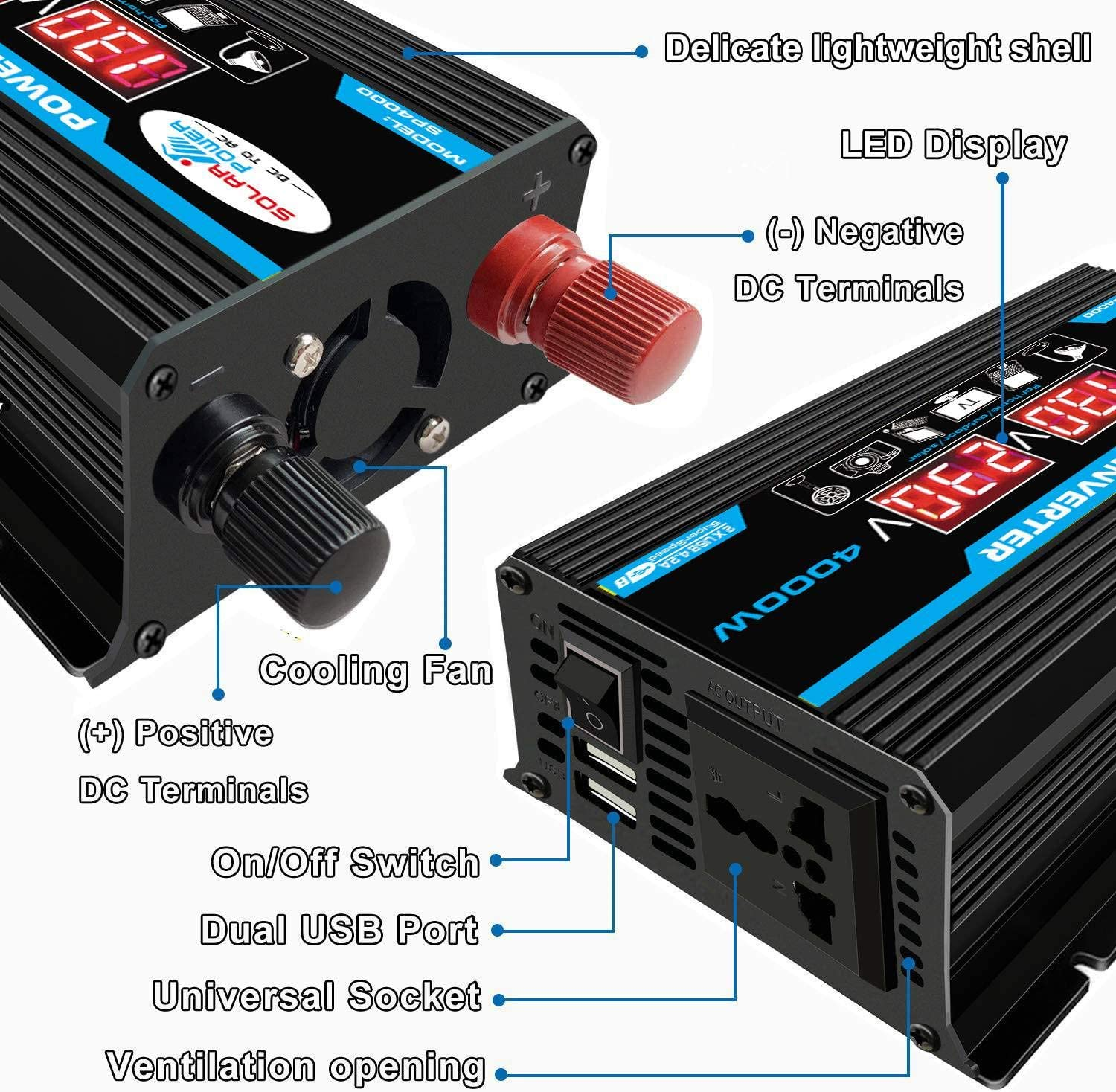 Shumo Car Inverter 4000W Voltage Transformer Pure Sine Wave Power Inverter DC12V to AC 220V Converter+2 LED Display