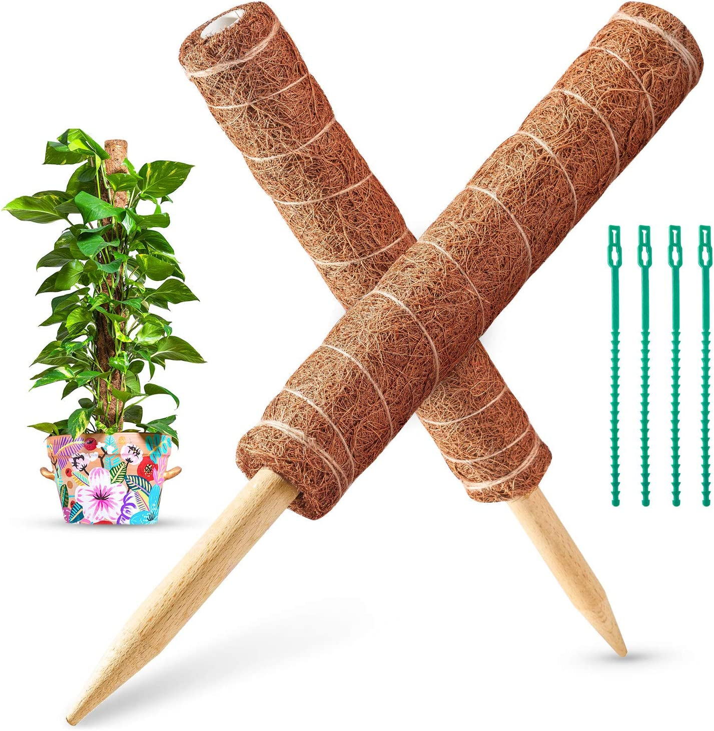 35.4IN Moss Pole, 2 Pack 17.7IN Coir Totem Pole for Pothos, Climbing Vines, Monstera and Climbing Indoor Plants (4 Plant Wrap Ties Included)