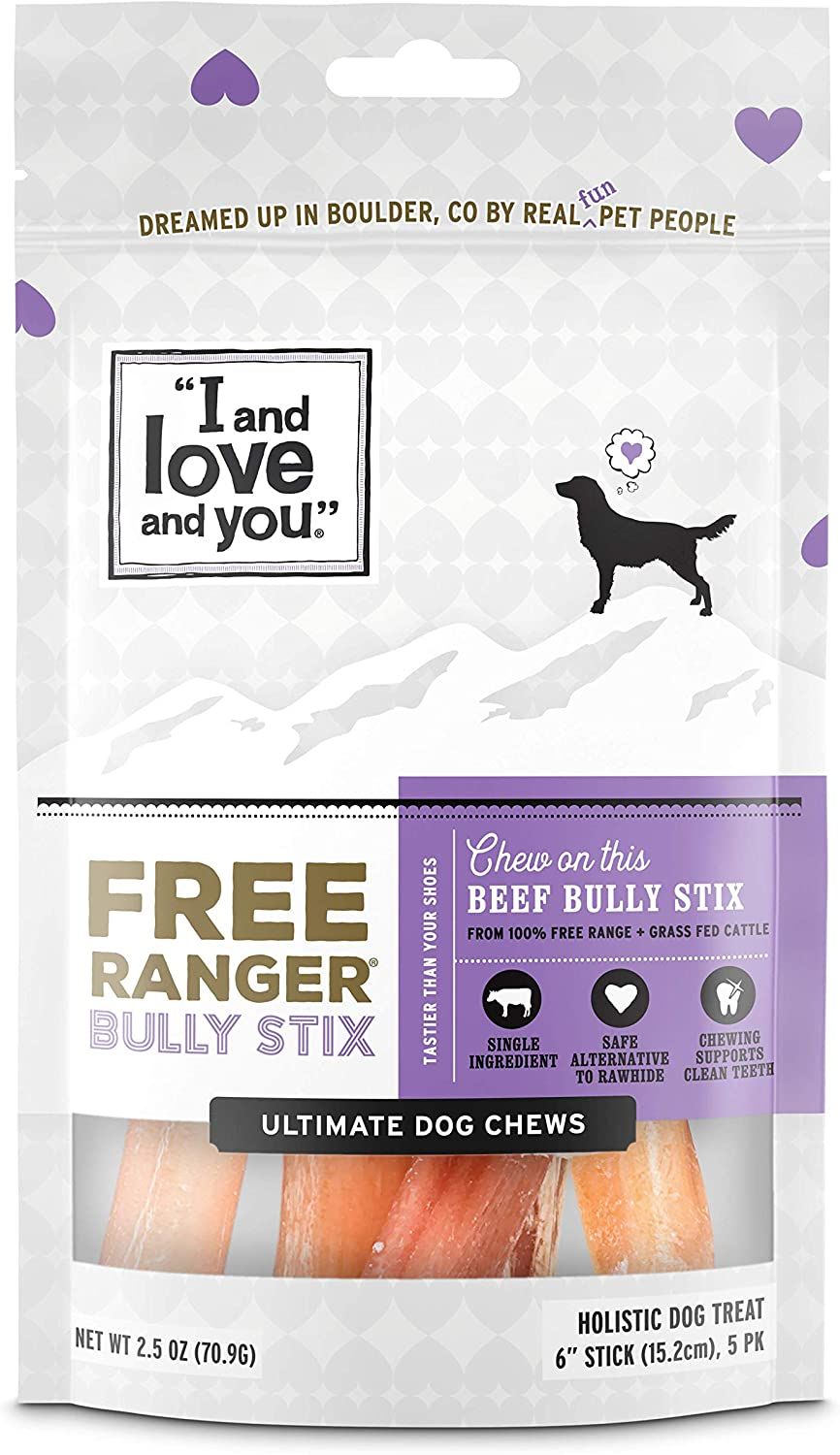 I and love and you Free Ranger Natural Grain Free Bully Stix - 100% Beef Pizzle, 6-Inch, Pack of 5