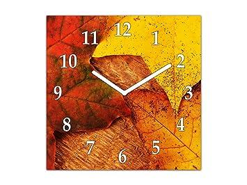 Reloj de Pared Grande - Cuadro de Cristal y Reloj de Pared - Variedad de diseños; AG10A Serie Texturas: Hojas de Arce: Amazon.es: Hogar