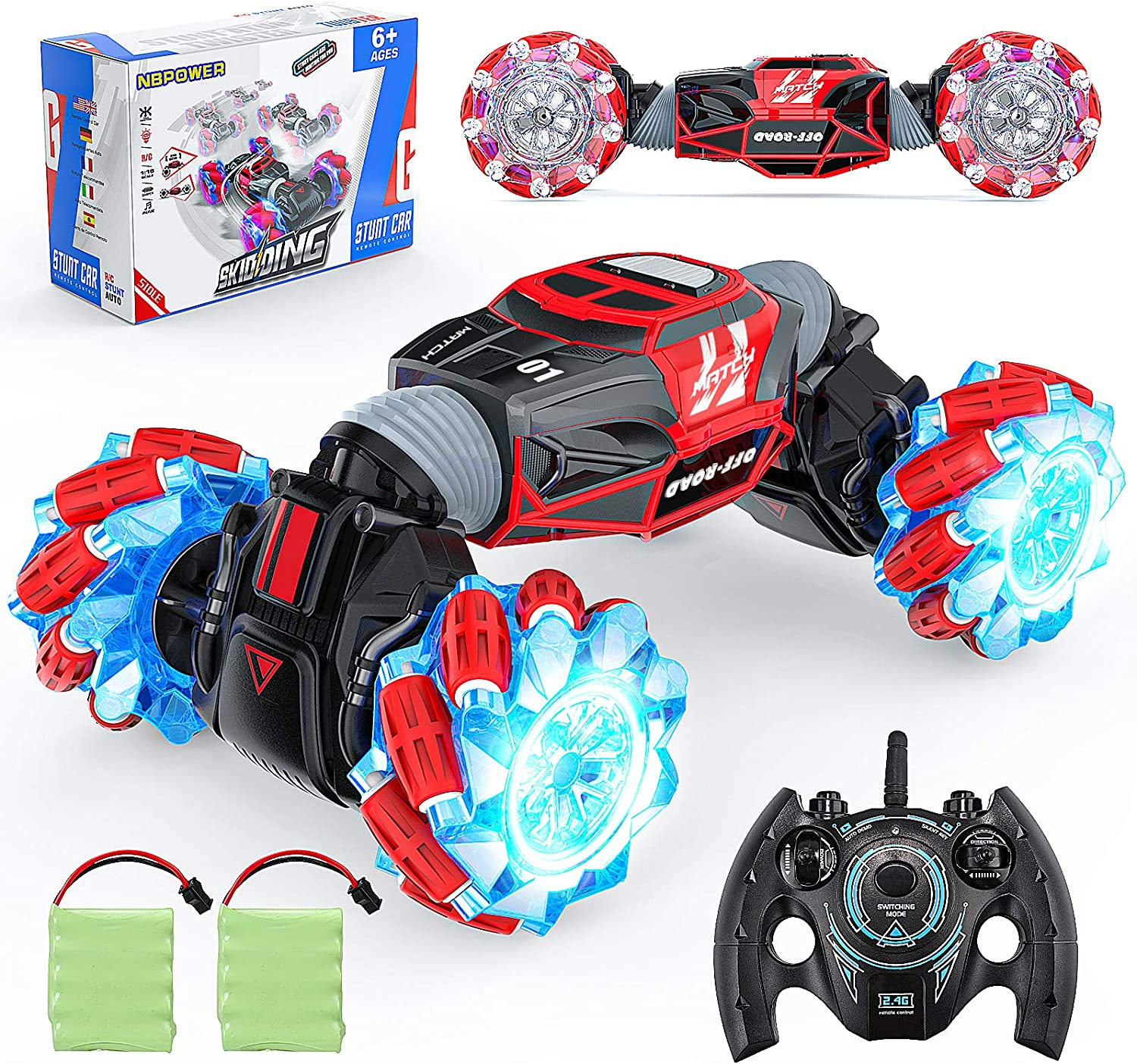 NBPOWER Insane Transform RC Car 4WD Off Road Monster Truck 1:16 Remote Control Crawler for Kids with 2 Batteries for 50+ Min Play