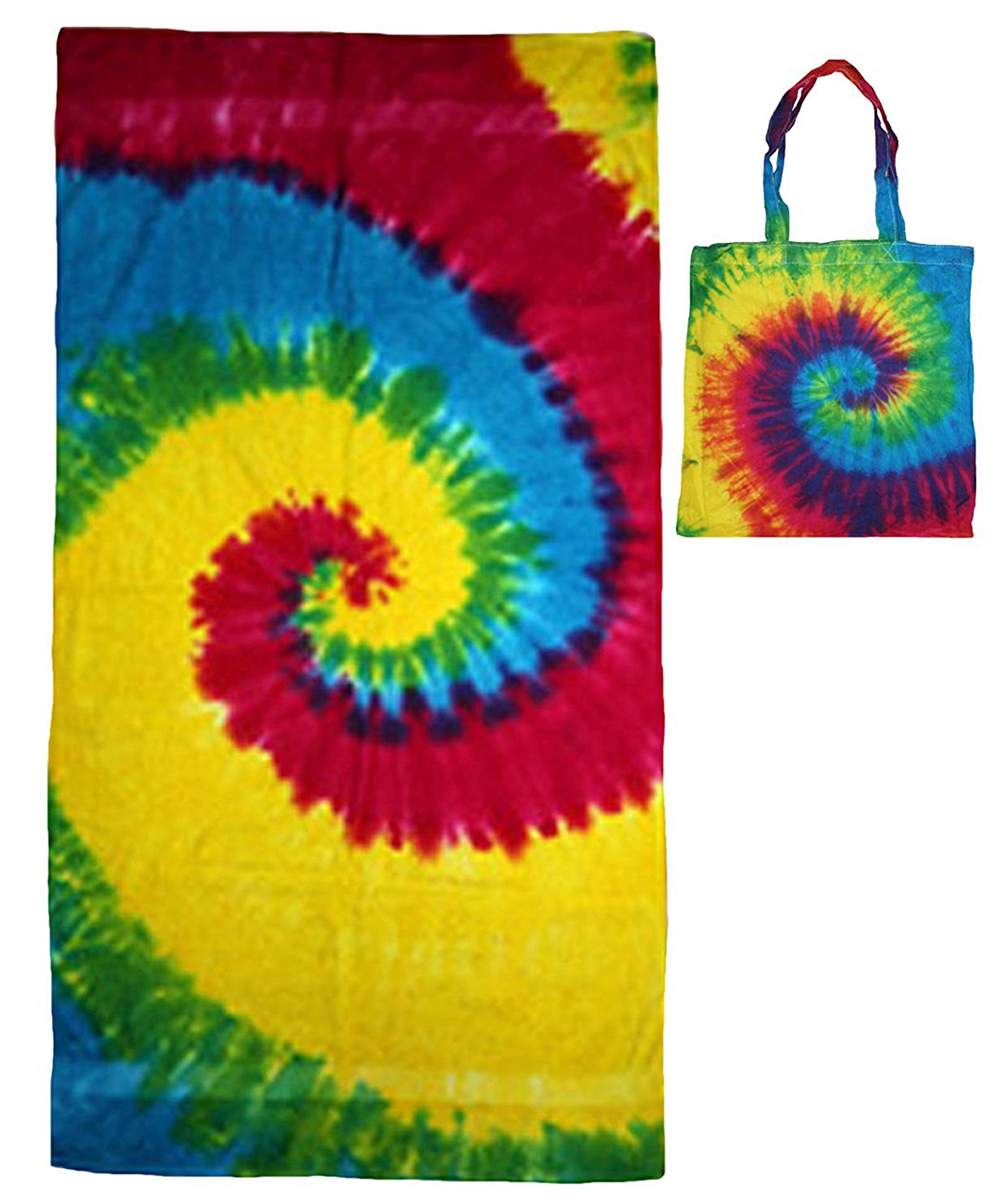 Colortone Rainbow Tye Dye Beach Towel and Rainbow Tye Dye Tote Bag Multi-Pack Gift Set