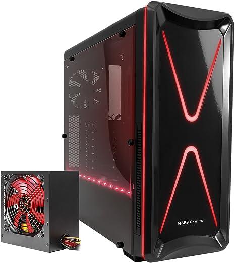 Mars Gaming BLM2, Pack Caja PC ATX + Fuente PC 650W, 2 Ventiladores 120mm, RGB, Negro/Rojo: Amazon.es: Informática