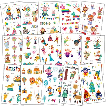 SZSMART Circo Tatuajes Temporales para Niños, Tatuajes Animales Circo Falso Tatuajes Pegatinas Infantiles Fiesta de cumpleaños Regalo Piñata 15 Hojas