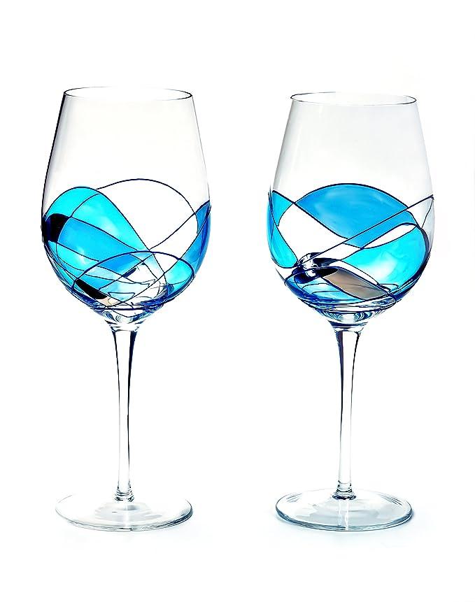 Antoni Barcelona gran vino cristal lujo línea azul cristal 29 oz (Juego de 2) único pintado a mano regalos para las mujeres, hombres, boda, aniversario, ...
