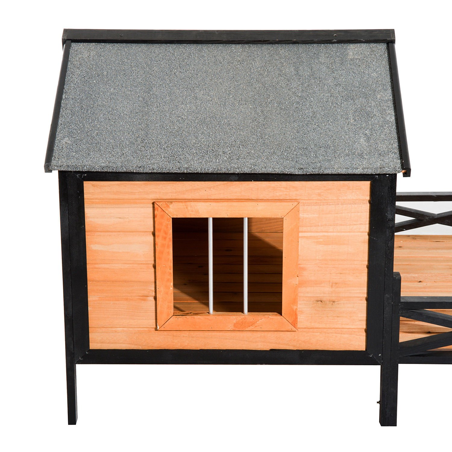 PawHut 67'' Large Wooden Cabin Style Elevated Outdoor Dog House with Porch by PawHut (Image #4)