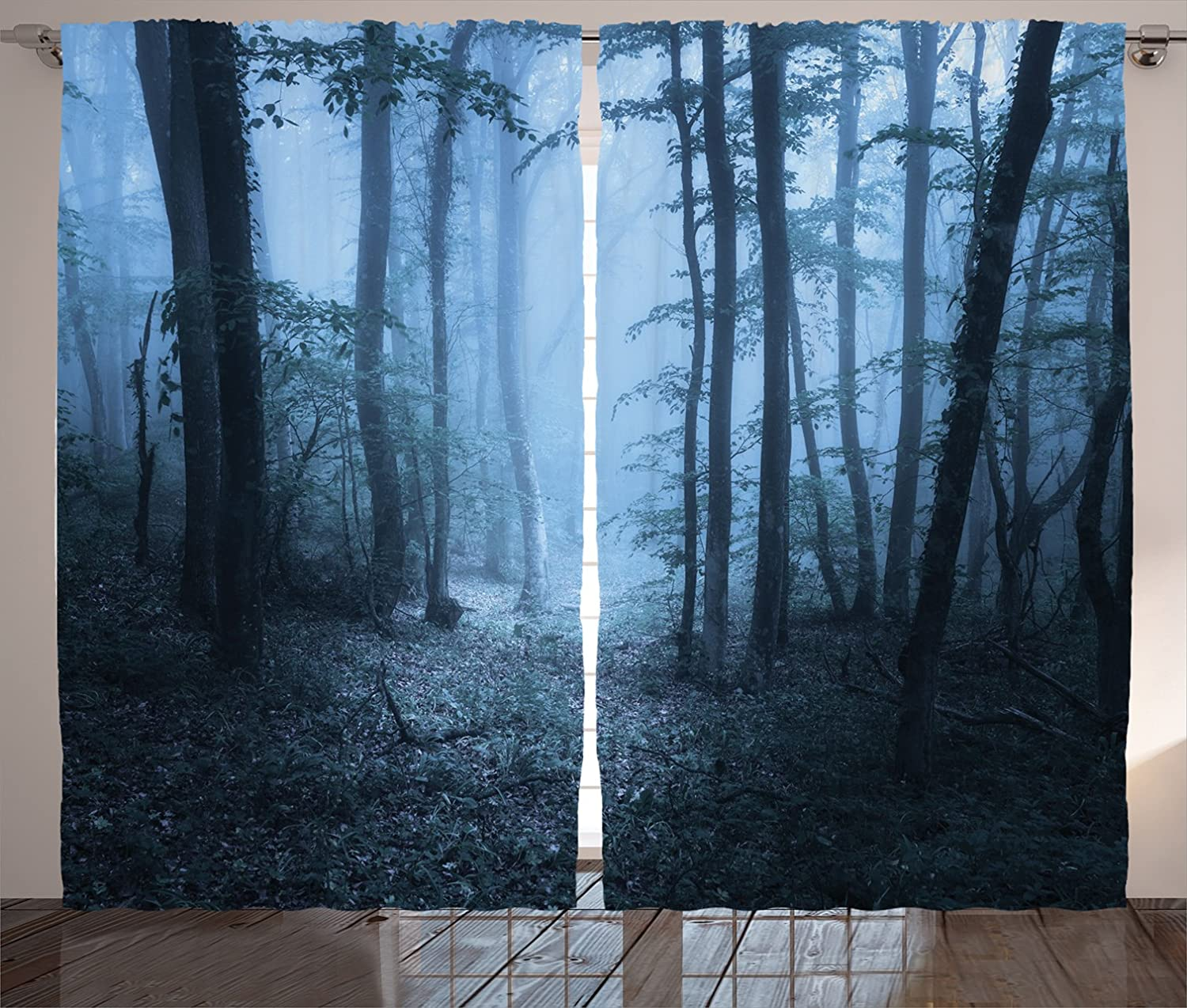 Nature Curtains Snowy Alps Lake Pine Window Drapes 2 Panel Set 108x84 Inches