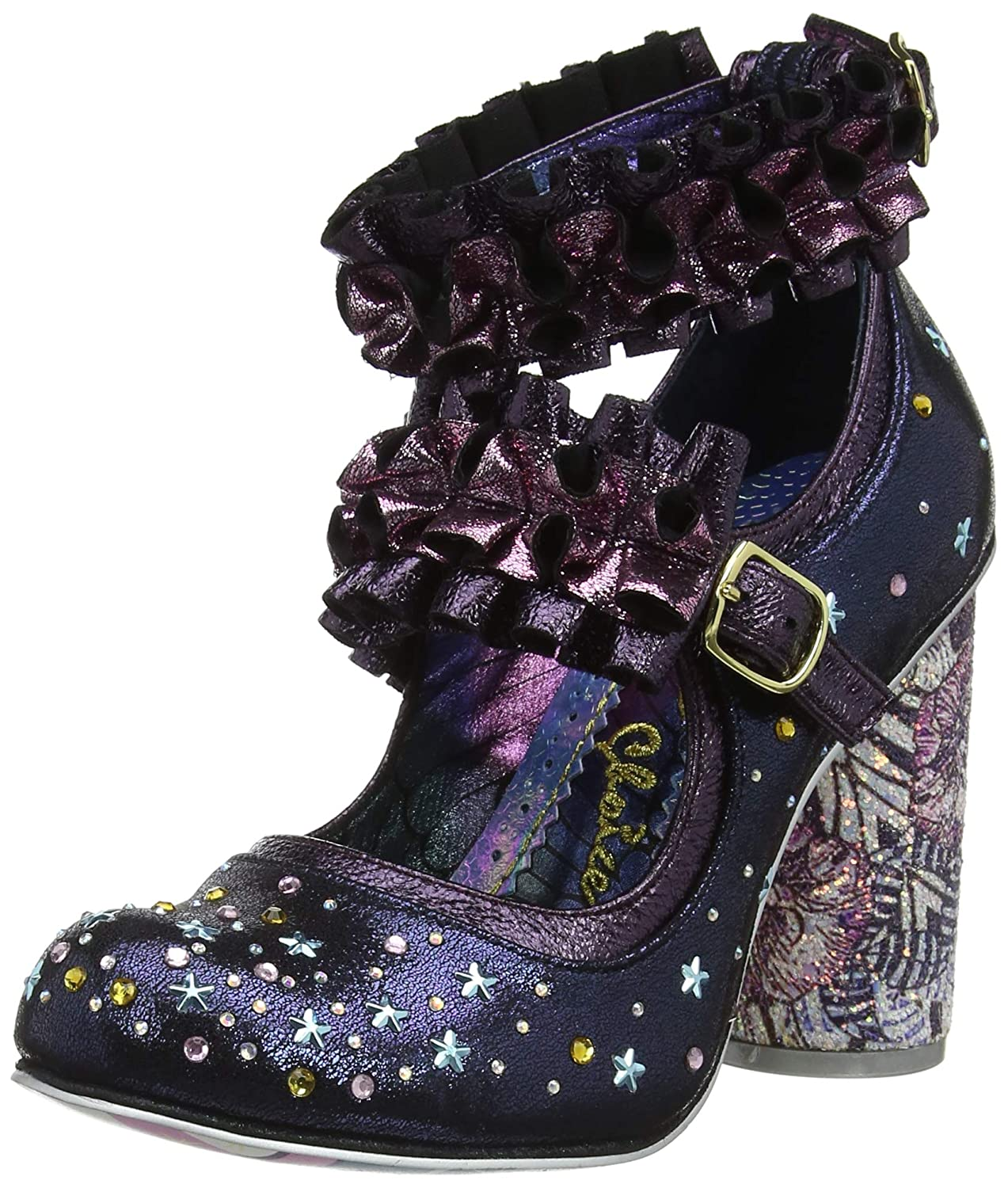 TALLA 38 EU. Irregular Choice New Rules, Zapatos con Tacon y Correa de Tobillo para Mujer